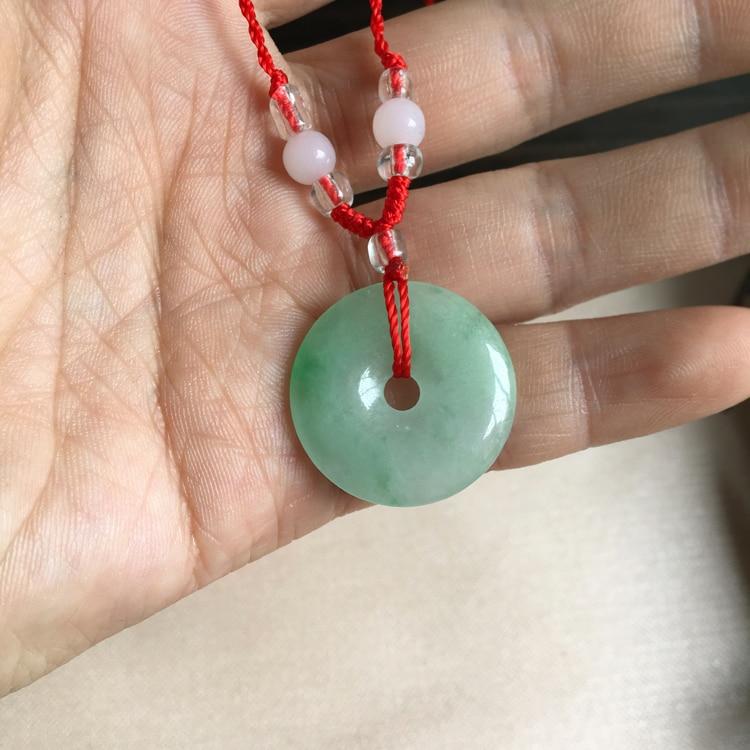Genuine natural Burmese stone pendant light green security buckle pendant men and women jewelry JADES jewelry beads