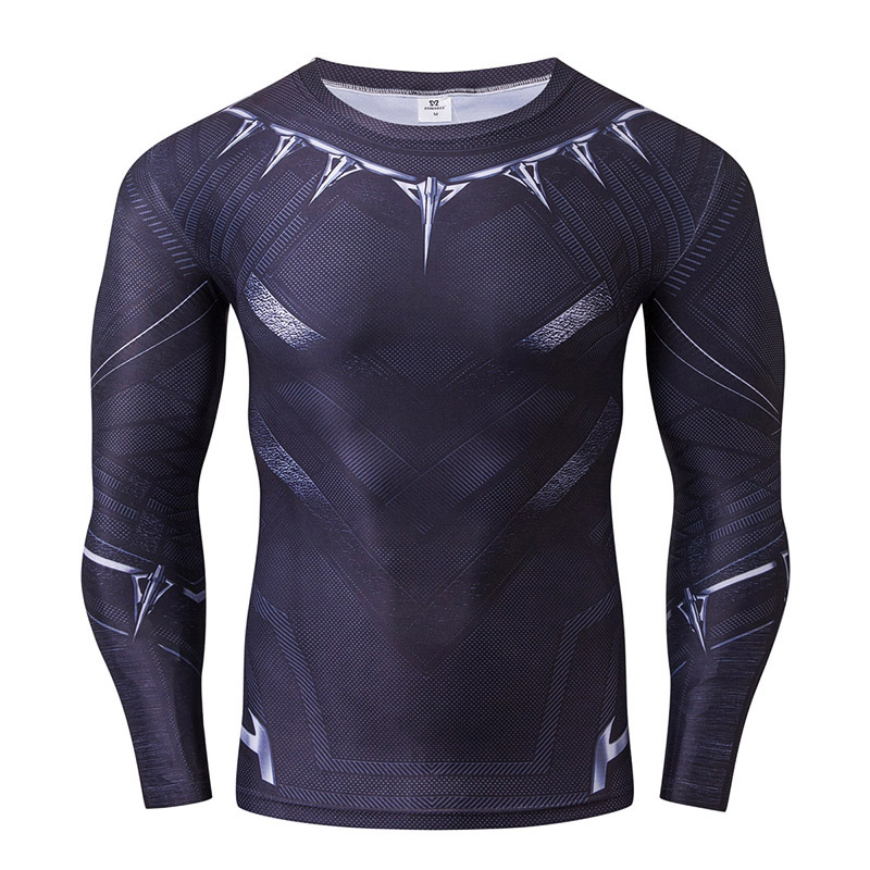 New black panther 3d printed t shirts men long sleeve for Compressed promotional t shirts