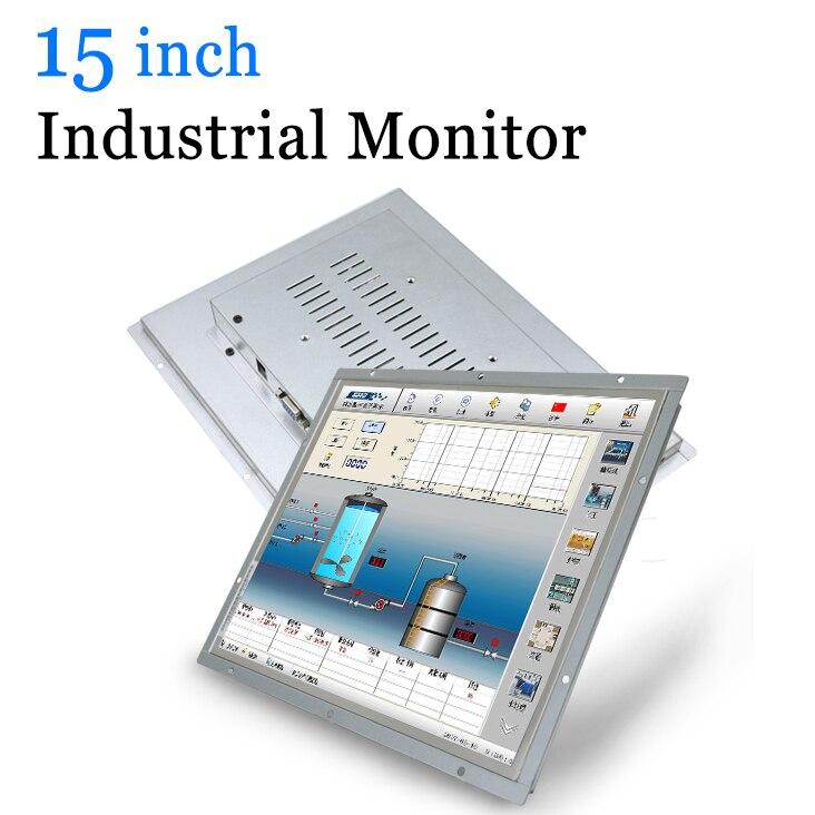 Moniteur LED industriel de boîtier en métal de cadre ouvert de 15 pouces avec VGA HDMI DVI BNC AV TV