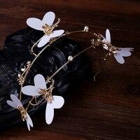 TUANMING Gold Schmetterling Perle Braut Hochzeit tiara Haarband Haar Schmuck Mode Hochzeit Haarschmuck Kopfschmuck Ornamente