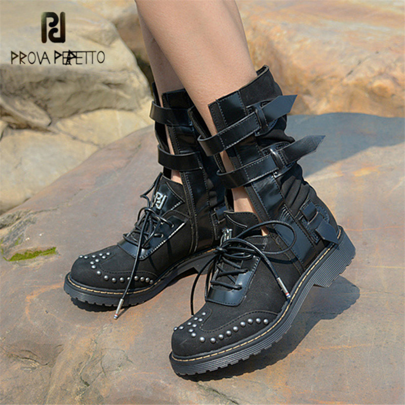 Prova Perfetto Punk Style Straps Martin Boots Genuine Leather Women Platform Summer Boots Female Rubber Shoes Woman Flats