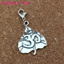 30Pcs/lots Antique silver Tree leaf OM Yoga Sign Charms with Lobster clasp Fit Charm Bracelet DIY Jewelry 24.8x46mm A-383b