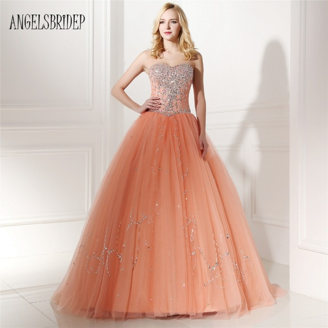 ANGELSBRIDEP Orange Sweetheart Neck Beading Sleeveless Tulle Floor-Length  Ball Gown Quinceanera Dresses db6d4ee2cf34