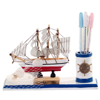 Mediterranean Sailing Ornaments Table Pen Holder Wood Sailboat Decoration Birthday Gifts Figurines Student Stationery Home Decor