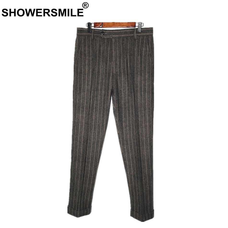 4bfb4b9d6de SHOWERSMILE Men Wool Dress Pant Herringbone Autumn Winter Grey Men Retro  Pants Vintage Formal Striped Trousers
