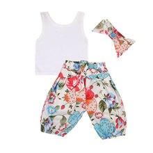 Babies Summer 3 Pcs Bow Clothing Set Newborn Baby Girl Vest Tops+Chiffon Floral Long Harem Pants Clothes Outfits 0-2T 2019