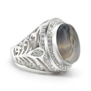 Image 3 - ผู้ชายแหวน 925 เงินสเตอร์ลิงรูปไข่ธรรมชาติหินCZ Hollow Vintage Punkแหวนนิ้วมือสำหรับชายแฟชั่นเครื่องประดับแหวนFine