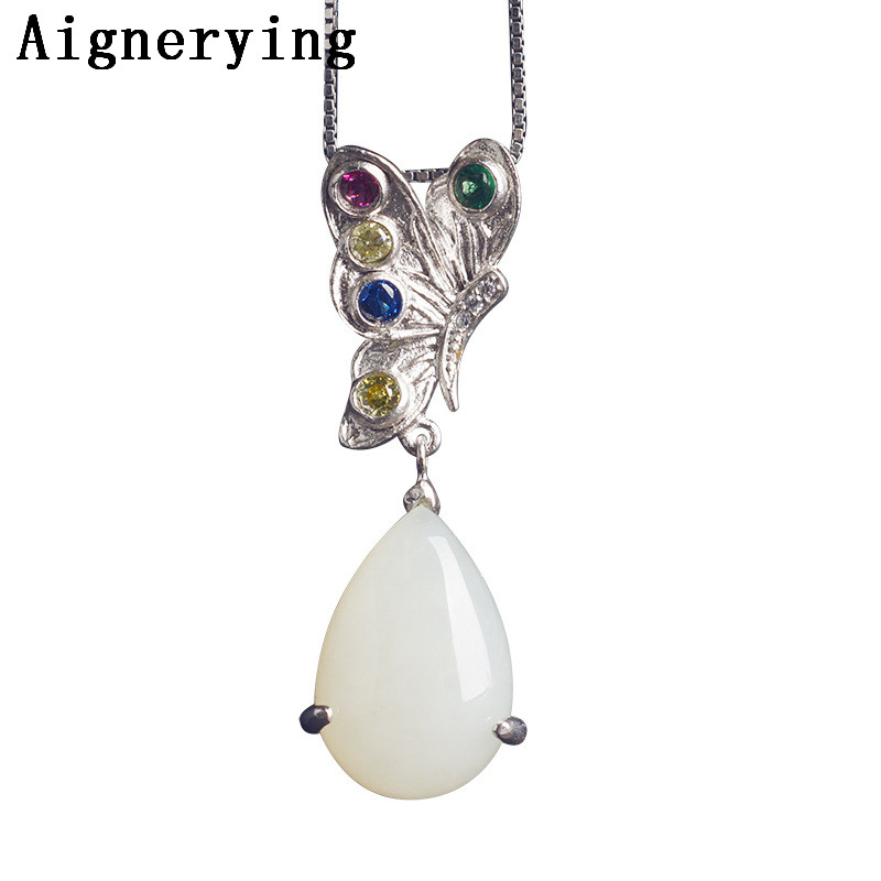 Certificat de collier Naturel pendentif 925 Argent inlay Poissons collier de jade pendentif Zircon femmes partie coffret cadeau