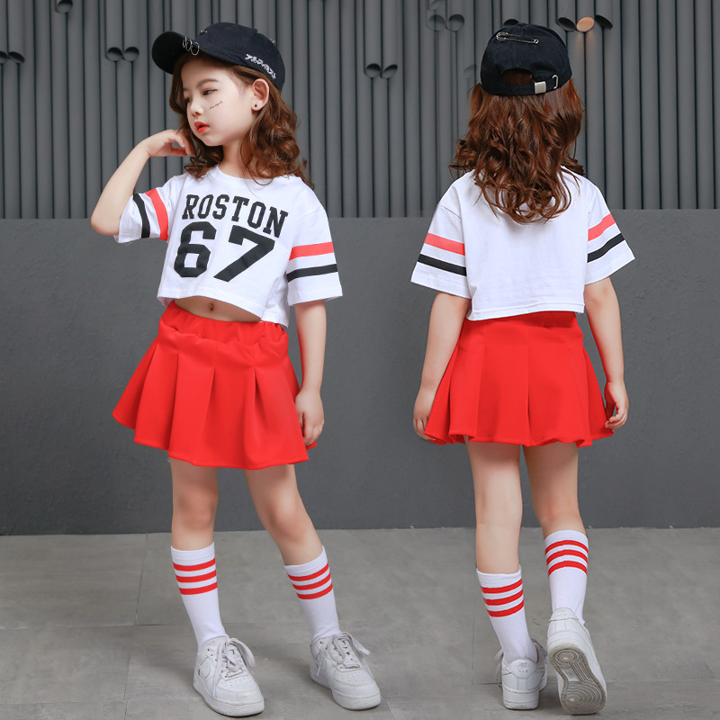 Kids Hip Hop Dance Clothes Casual Cropped Tops T Shirt For Girls Ballroom Dancing Skirts Costumes Jazz Street Wear White Skirt