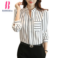 Split Neck Strip Blouse Shirts Elegant Long Sleeve Spring Autumn Chiffon Blouse Tops Women Fashion Office