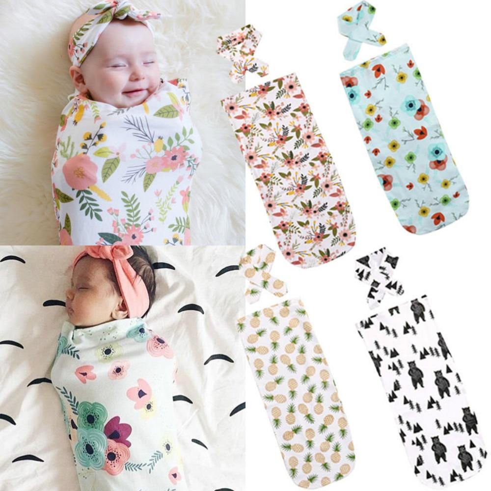 Gastfreundlich 2018 Neue Neugeborenes Baby Swaddle Decke Schlafen Swaddle Musselin Wrap + Stirnband 2 Stücke Floral Casual Kleidung Zubehör Feines Handwerk