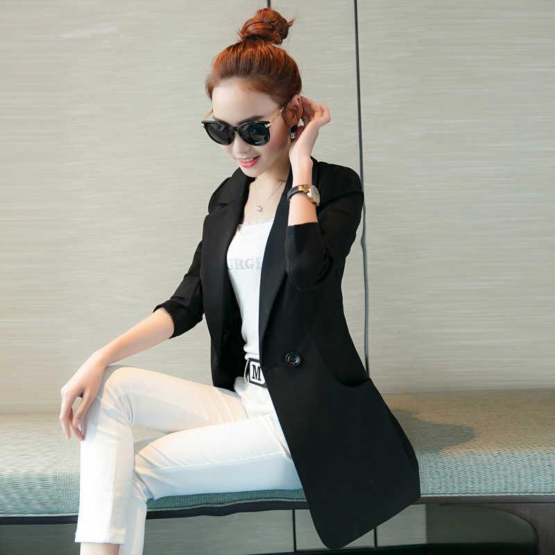 女性ブレザー2016新しいファッションブランドプラスサイズs-xxlダブルブレストロングスリムカジュアルブレザースーツジャケットブレザーfeminino g135