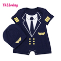 Cotton Boy Romper Short Sleeve Newborn Baby Clothes Baby Boys 2Pcs Clothing Set Navy  Infant Jumpsuits+Hat 2016 Infant A