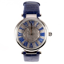 MATISSE Fashion Full Crystal Dial Roman Number Leather Strap Women Fashion Quartz Watch – Blue