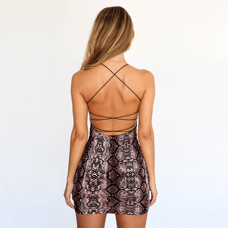 Sexy Cross Bandage Backless Bodycon Dress Women Sleeveless Halter Summer Dress Snake Print Short Party Casual Mini Dress in Dresses from Women 39 s Clothing