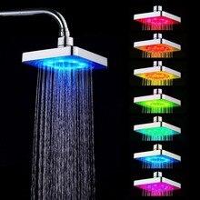 7 colori LED Romantico, Acqua, Luce Bagno di Casa Bagno Doccia Testa Placcatura Passare Doccia A Pioggia Testa per Doccia Con Acqua Bagno