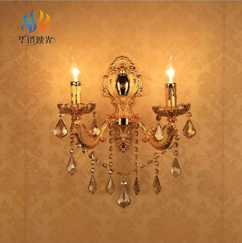 K9 Crystal Candle Sconces Wall Lamps Light European Vintage Bedside Bedroom Hotel Lamp Fixtures