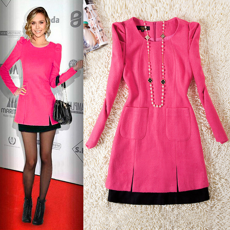 On Trend And Elegant Looks For: Free Shipping Women Fashion Wool Dress 2014 Autumn Winter