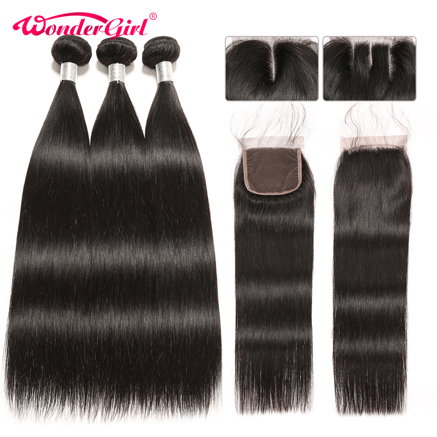 Brazilian Straight Hair Bundles With Closure Wonder girl Remy Human Hair Bundles With Closure Can Be
