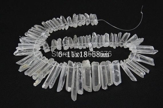Přibližně 58ks / pramen kvalitních surových křemenných krystalových hrotů s bodovým sklem, přívěsek s krystaly Rock Crystal