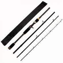 2.7m 4 Section Black Carbon Fiber Lure Fishing Rod M Power Ultra Light Casting Fishing Pole цена