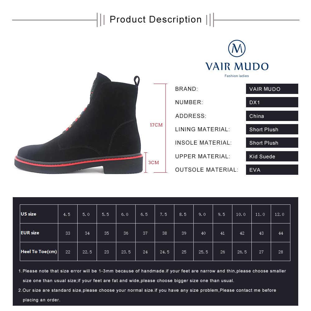 VAIR MUDO yün kürk kadın ayakkabısı ayak bileği çizmeler kadın ayakkabıları hakiki deri ilkbahar sonbahar kare düşük topuk bayan çizme ayakkabı DX1