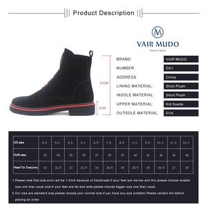 Image 5 - VAIR MUDO צמר פרווה נעלי נשים קרסול מגפי נשים נעלי עור אמיתי אביב סתיו כיכר נמוך העקב ליידי אתחול נעלי DX1