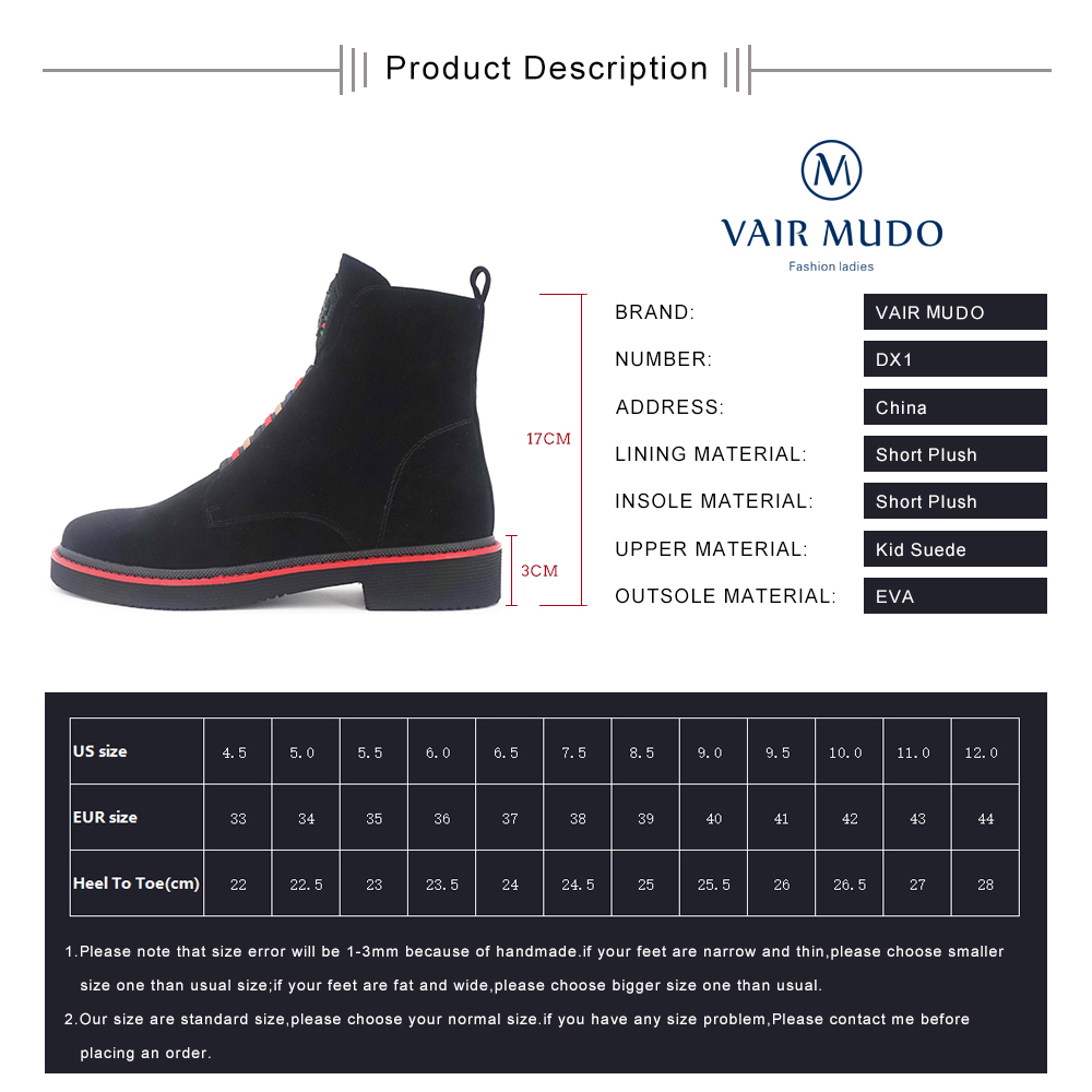 Vair mudo lã de pele sapatos femininos botas de tornozelo sapatos femininos de couro genuíno primavera outono praça salto baixo senhora sapatos de bota dx1 - 6