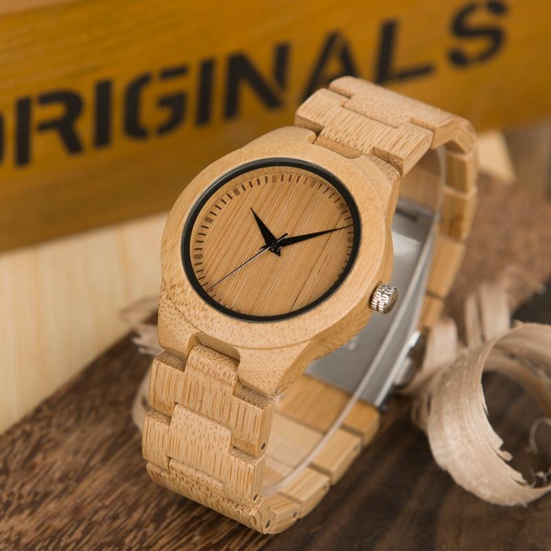 BOBO BIRD Newest Natural Full Bamboo Watch Women 2035 Quartz Movement Wristwatch With Paper GiftBox Relogio Masculino B-L28