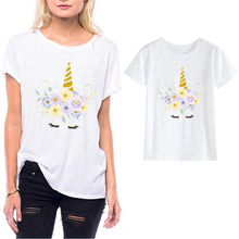 LUSLOS VOGUE Unicorn Face T-shirt Casual Short Sleeve Lady Slim white women Tee Shirt Femme Shirts Gilrs Streetwear Tops
