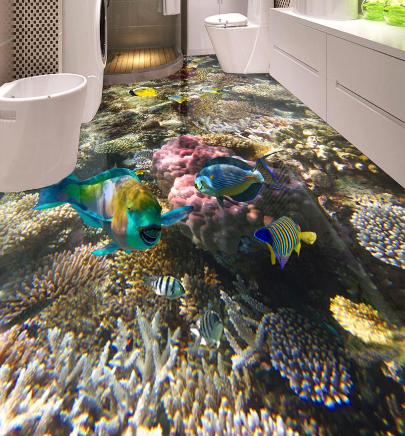 3D Flooring Waterproof Wallpaper For Bathroom Seabed coral tropical fish 3D Floor Painting Self-adhesive Wallpaper free shipping hd 3d stereo coral reef tropical fish bathroom bedroom floor painting wallpaper self adhesive floor mural