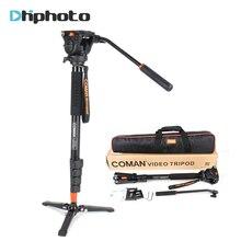 מקצועי קומן אלומיניום סגסוגת וידאו חצובה חדרגל עם נוזל פאן ראש Unipod מחזיק עבור Canon סוני ניקון Panasonic GH5 DSLR