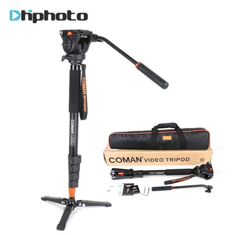 Profesional Coman Aluminium Alloy Video Tripod Monopod dengan Cairan Pan Kepala Unipod Pemegang untuk Canon Sony Nikon Panasonic GH5 DSLR
