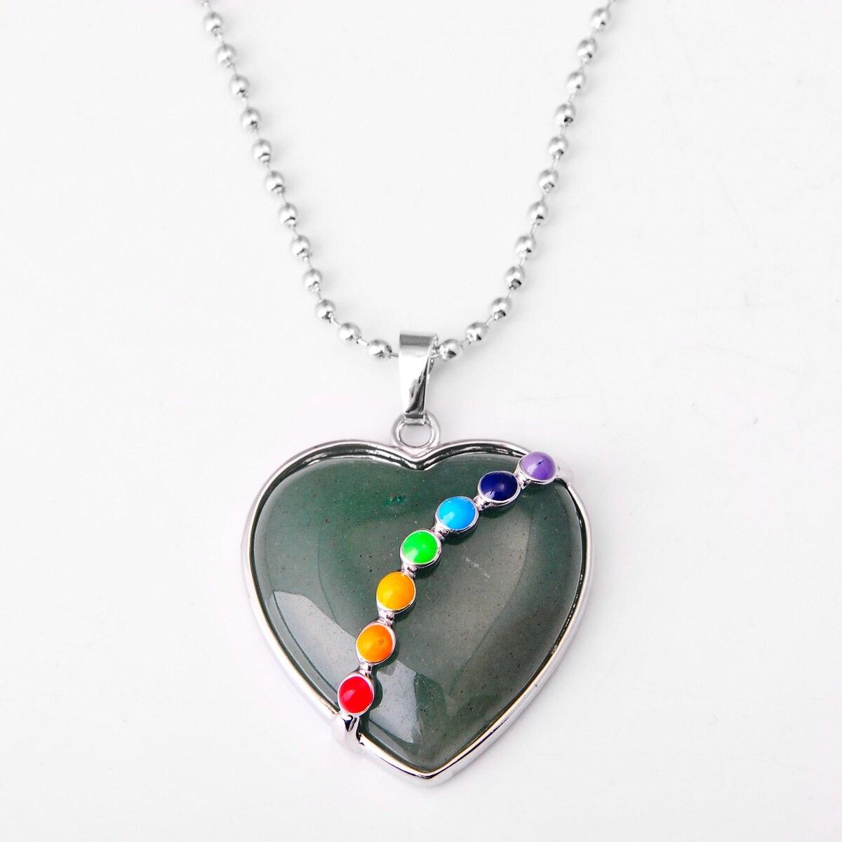 ASHMITA малахитовое сердце из кабошона с 7 чакра камень кулон ожерелье - Окраска металла: 52