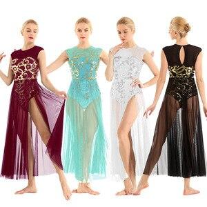 Image 3 - Vrouwen Ballet Tutu Rok Bloemen Pailletten Shiny Tank Turnpakje Maxi Jurk Voor Moderne Lyrical Lof Hedendaagse Stage Dance Kostuum