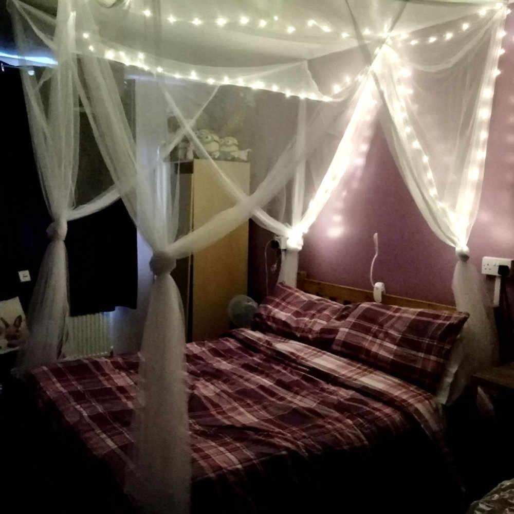 190x210x240 cm אירופאי סגנון 4 פינת חופה מיטת כילה למיטה זוגית שינה קישוט רומנטי תליית מיטת אלאנס