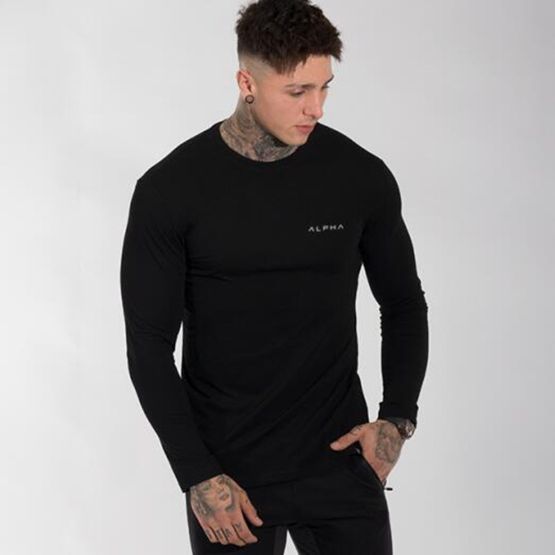 Mens Jogger Workout Tight Long sleeve T-shirt Man Gyms Fitness Cotton t shirt Apha Male Casual Fashion Tees Tops Brand Apparel