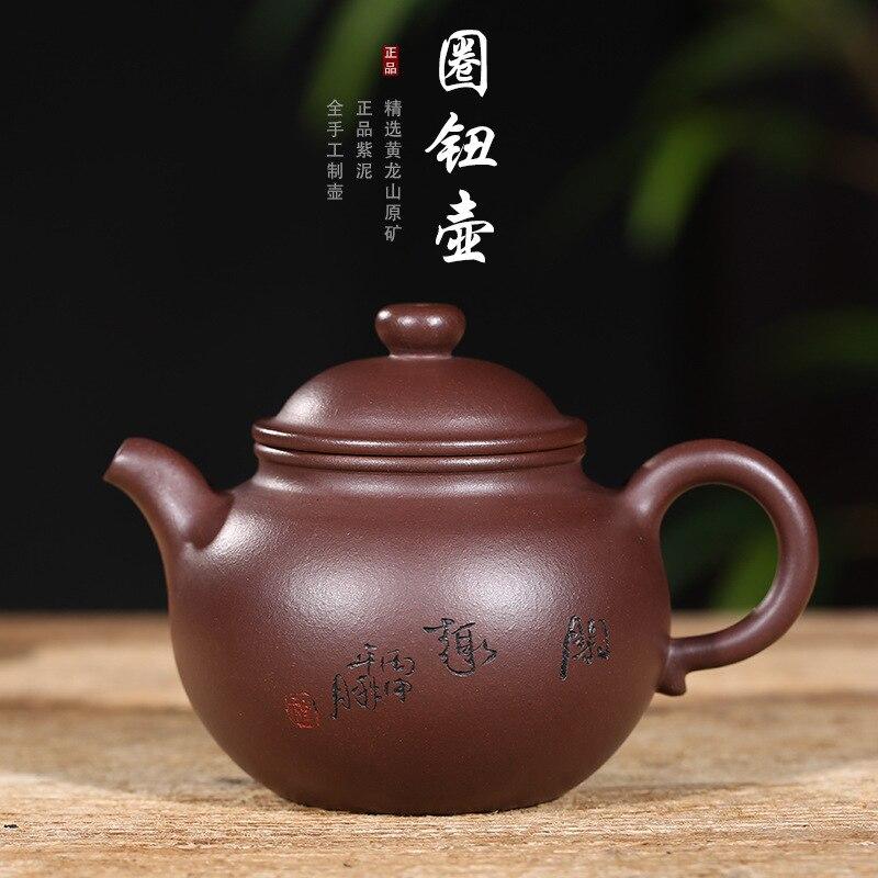 Yixing Paarse Klei Pot Theewaar Ijzermijn Oude Paarse Klei Ring Knop Pot handgemaakte Theepot Gift Aangepaste Een substituut