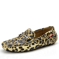 British Style Male Casual Shoes Leopard Print Moccasins Men Personalized Loafers Boat Shoes Breathable Driving Shoes