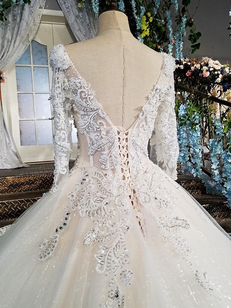 LS00213 vestido de noiva casamento backless appliques 3/4 mouwen kant - Trouwjurken - Foto 5
