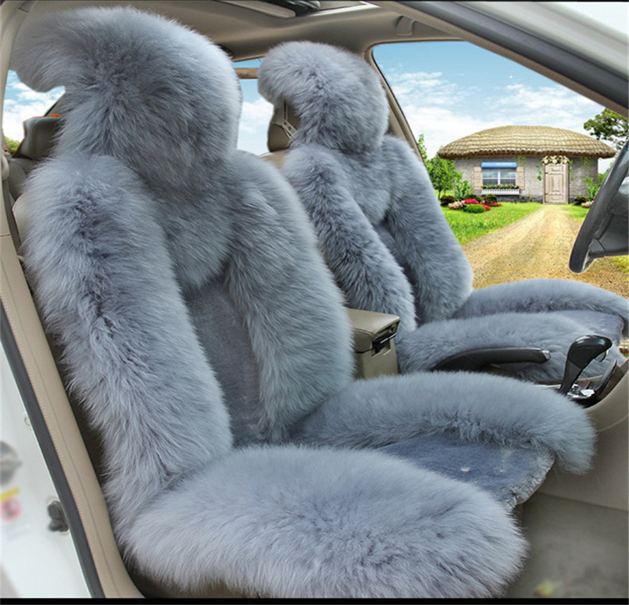 Swell 2X Front Vehicle Seat Cover Natural Fur Sheepskin Blue Grey Color Car Cushion Alphanode Cool Chair Designs And Ideas Alphanodeonline