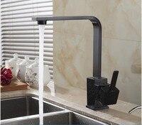 Free Shipping Polished Black Brass Swivel Kitchen Sinks Faucet 360 Degree Rotating Kitchen Mixer Tap