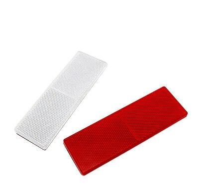 2x Rot/Weiß Selbstklebende Längliche Rechteckigen Anhänger Lkw Reflektoren 150x50mm