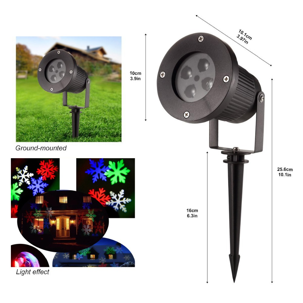 Automatic move LED snowflake projector landscape
