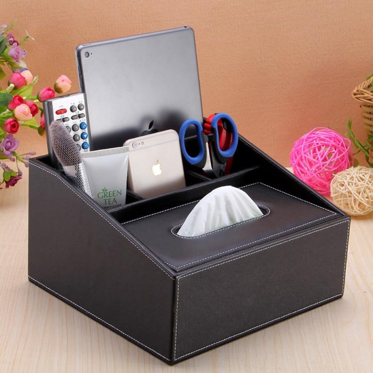 Leather multifunctional desktop mobile phone remote control storage box coffee table napkin tissue box pumping paper box fashion