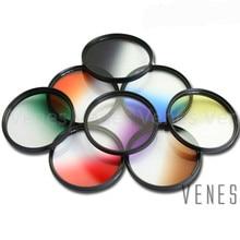 Venes 62mm הדרגתי כחול או ירוק או צהוב או אדום או orange עדשת מסנן מצלמה אבזר