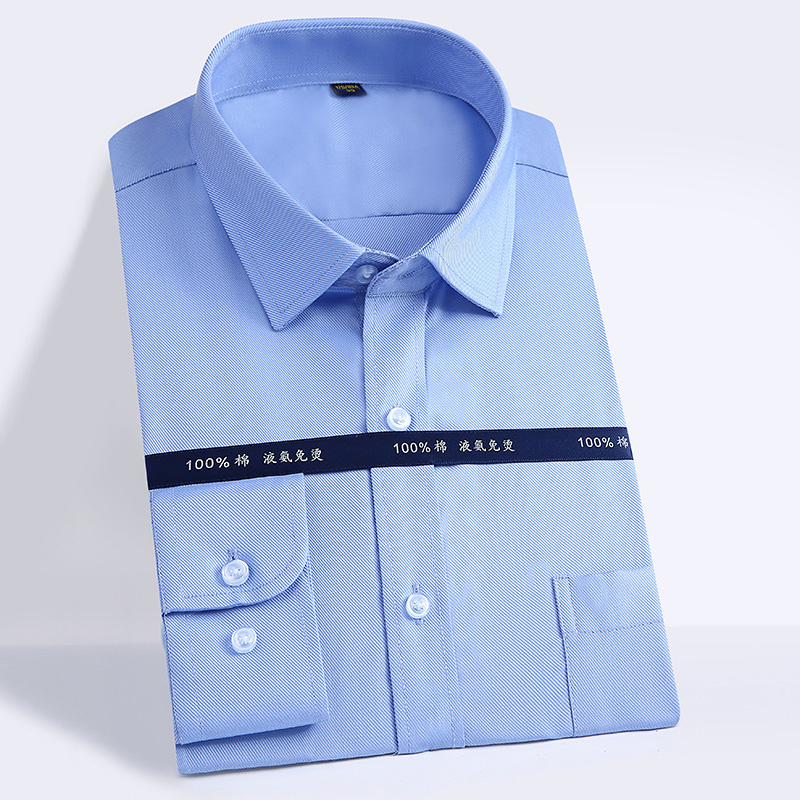 Diligent Men's 100% Cotton Long Sleeve Shirts Non-iron Business Slim Fit Formal Dress Shirt Male Social Solid Business Non-iron Shirts