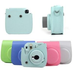 Image 2 - Per Fujifilm Instax Mini 8 Mini 9 Macchina Fotografica DELLUNITÀ di elaborazione di Cuoio del Sacchetto di Colore Instax Mini caso con Cinghia di Spalla Trasparente di Cristallo copertura