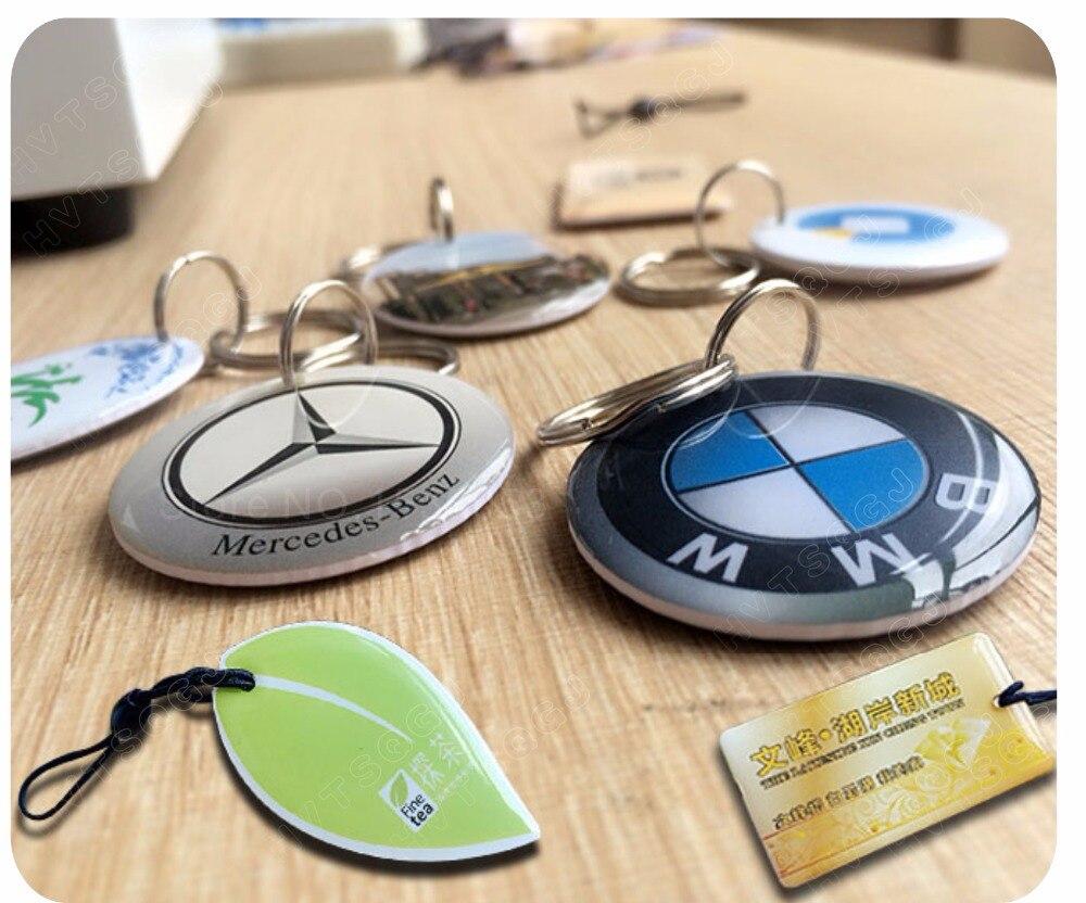 100PCS NFC Epoxy key tags NFC logo printed 13 56mhz 1k S50 rfid tag keyfobs free
