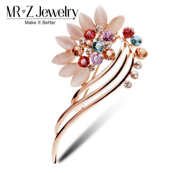 2018 New Fashion Brand Designer Rhinestone Crystal Flower Brooch Pin For Women Clothing Sweater Accessories Jewelry